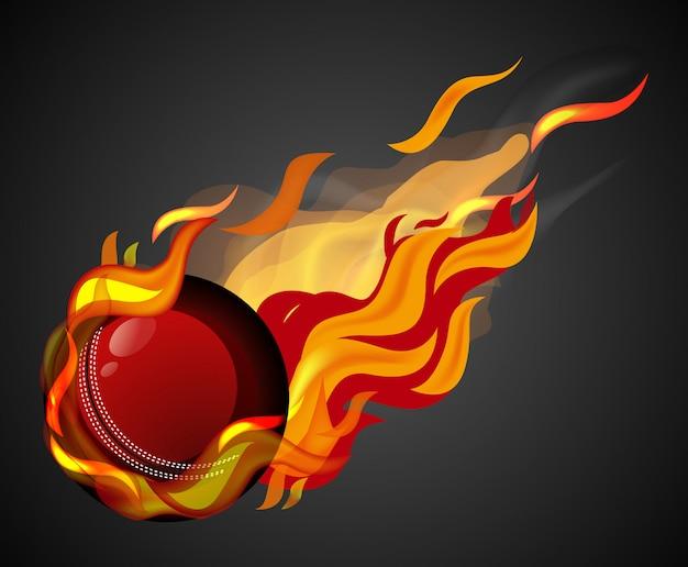Cricket schieten met vlam op zwarte achtergrond Premium Vector