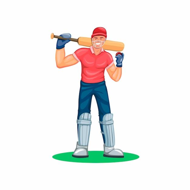 Cricket speler atleet sport karakter figuur in cartoon afbeelding op een witte achtergrond Premium Vector