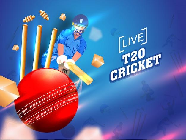 Cricket-speler in actie spelen Premium Vector