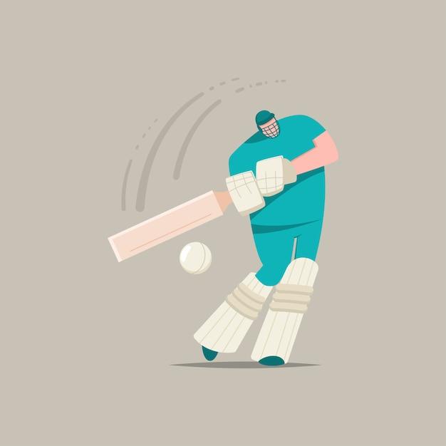 Cricket speler met badjes en balletjes. platte stripfiguur van een man die spelen in sportwedstrijd geïsoleerd op een achtergrond. Premium Vector