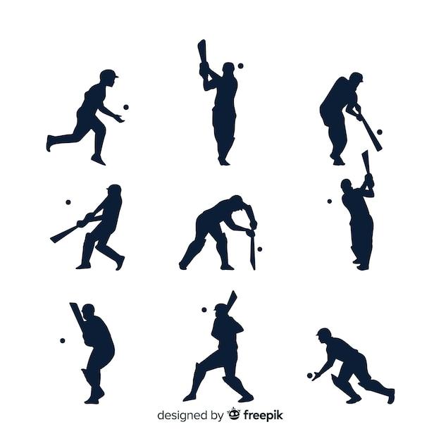 Cricket speler silhouet collectie Gratis Vector