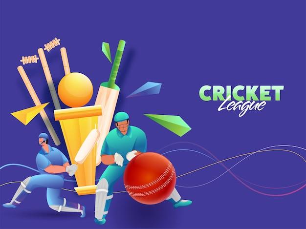 Cricket spelers karakter met realistische apparatuur en gouden trofee cup op blauwe achtergrond. Premium Vector