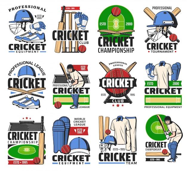 Cricket sport bal, vleermuis, speler en stadion pictogrammen Premium Vector