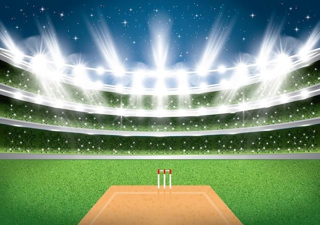 Cricketstadion met schijnwerpers. Premium Vector