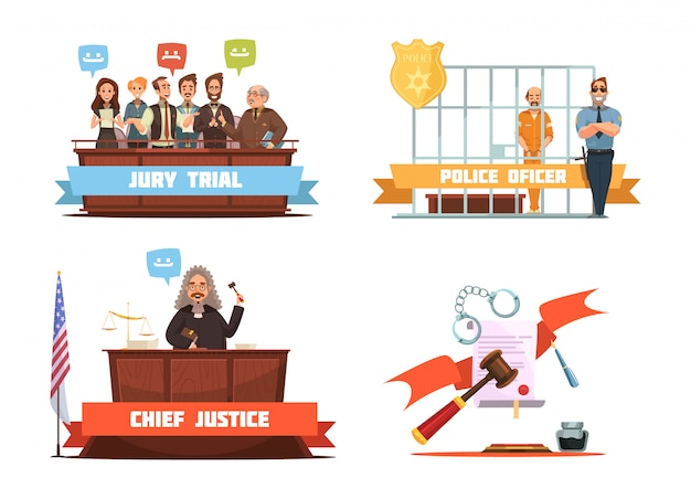 Criminal trial jury vonnis en politieagent met verdachte 4 retro cartoon pictogrammen samenstelling isolat Gratis Vector
