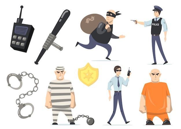 Criminelen en politieagenten. inbreker met geld, gevangenen in oranje of gestreepte uniformen, gevangenisbewaking, politieagent met pistool. geïsoleerde vectorillustraties voor misdaad en rechtvaardigheid Gratis Vector