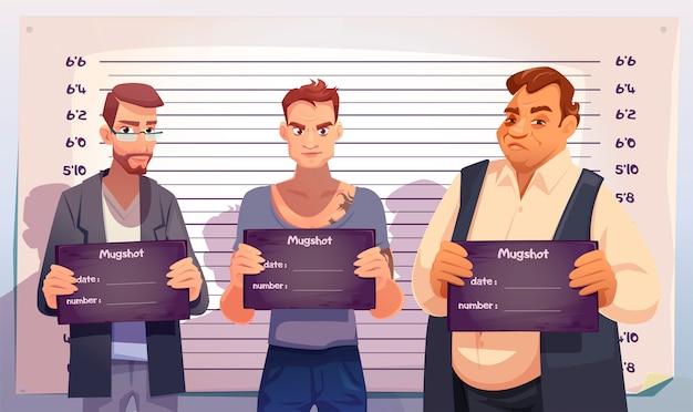 Criminelen met mugshotplaten in politiebureau Gratis Vector