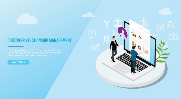 Crm isometrische klantrelatie management concept Premium Vector