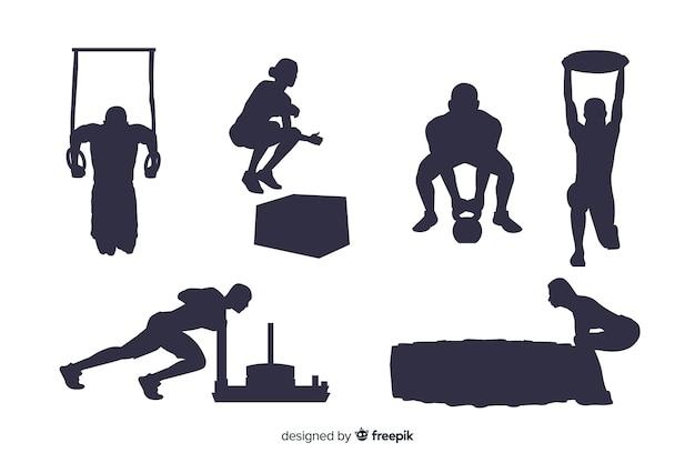 Crossfit training man en vrouw silhouetten collectie Gratis Vector