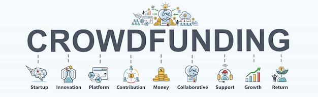 Crowdfunding banner web pictogram voor bedrijven en opstarten. Premium Vector