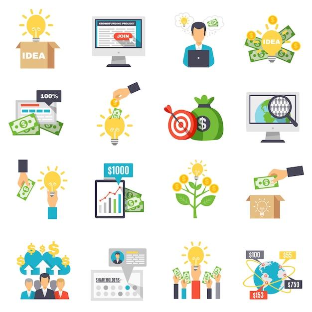 Crowdfunding decoratieve pictogrammen instellen Gratis Vector