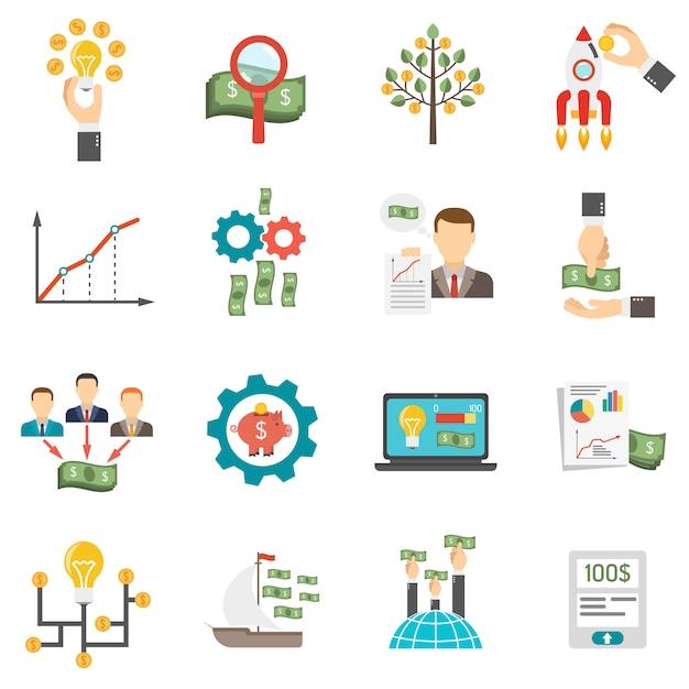 Crowdfunding icons set Gratis Vector