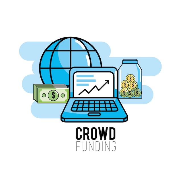Crowdfunding strategie project om ondersteuning te financieren Premium Vector