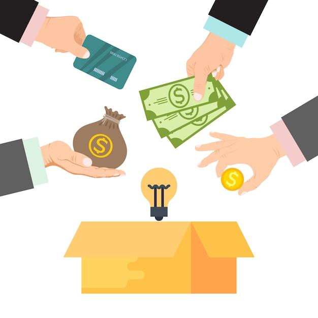 Crowdfunding vectorillustratie. kartonnen doos omringd door handen met geld, zak geld en creditcards. financieringsproject door gedoneerd geld Premium Vector