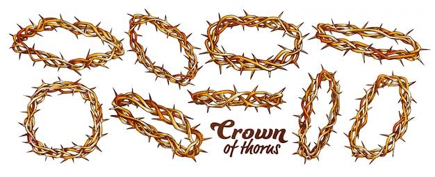Crown of thorns religieuze set kleur Premium Vector