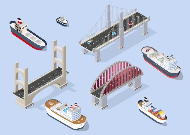 Cruiseboten en marineschepen nautisch transport Premium Vector