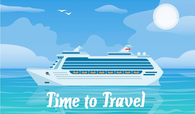 Cruiseschip en reizende vectorillustratie Premium Vector