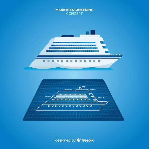 Cruiseschip maritieme engineering plannen concept Gratis Vector