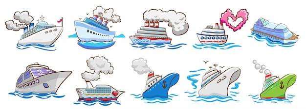 Cruiseschip vector set clipart Premium Vector
