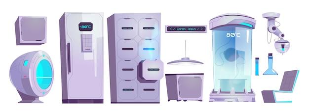 Cryonics laboratoriumapparatuur en -techniek, cryocamera met lage temperatuurregime, lade en koelkast met digitaal scherm en glazen kolven, laser geïsoleerd cartoon vector illustratie set Gratis Vector