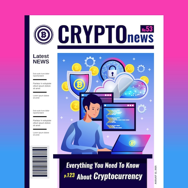 Crypto mining-handel blockchain-netwerk met computersoftware alles over cryptocurrency crypto nieuws tijdschriftdekking Gratis Vector