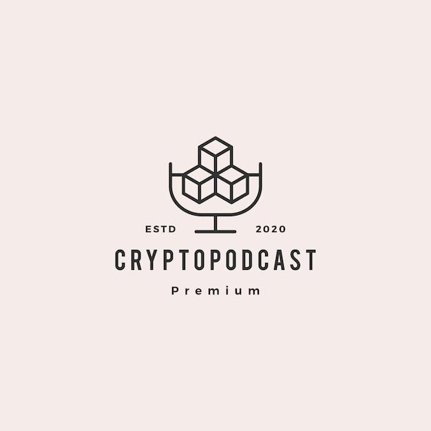 Crypto podcast logo hipster retro vintage pictogram voor blockchain cryptocurrency blog video vlog beoordeling tutorial kanaal Premium Vector