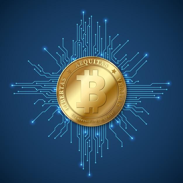 Crypto-valuta bitcoin. netto bankwezen en bitcoins mijnbouw vectorconcept Premium Vector