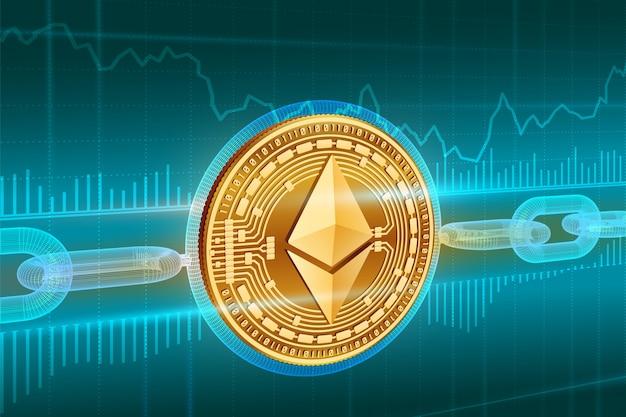 Crypto-valuta. blokkeer ketting. ethereum. 3d isometrische fysieke gouden ethereum-munt met draadframe ketting. blockchain-concept. bewerkbare cryptocurrency-sjabloon. voorraad vectorillustratie. Premium Vector