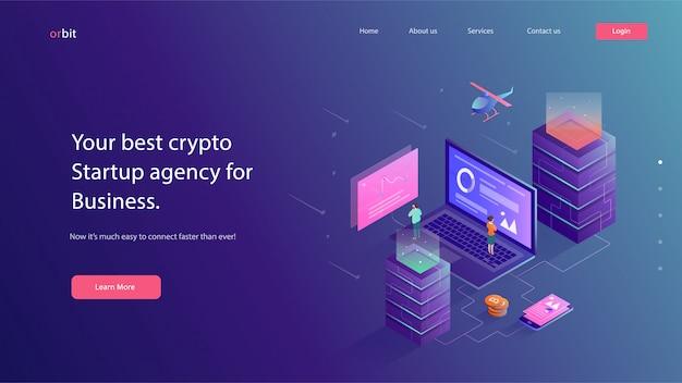 Crypto valuta website vectorillustratie Premium Vector
