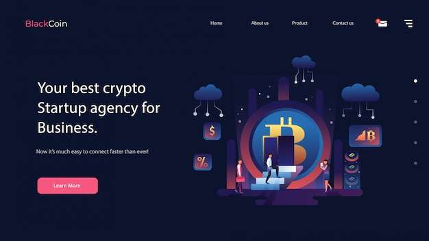 Crypto website vector illustratie Premium Vector