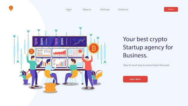 Crypto website vector illustratie Premium Vector