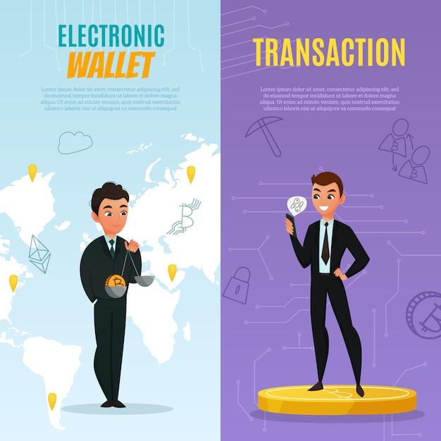 Cryptocurrency banners set Gratis Vector