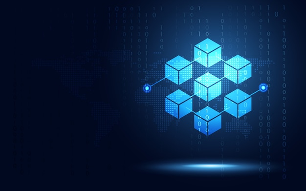 Cryptocurrency block chain server abstracte achtergrond Premium Vector