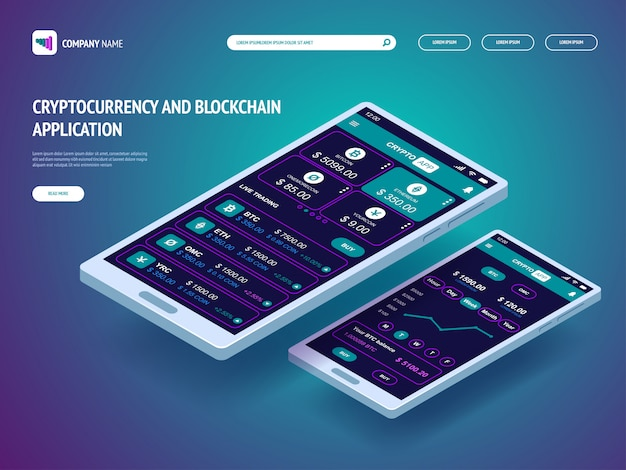 Cryptocurrency en blockchain-applicatie voor smartphone. koptekstsjabloon voor uw website. bestemmingspagina. Premium Vector