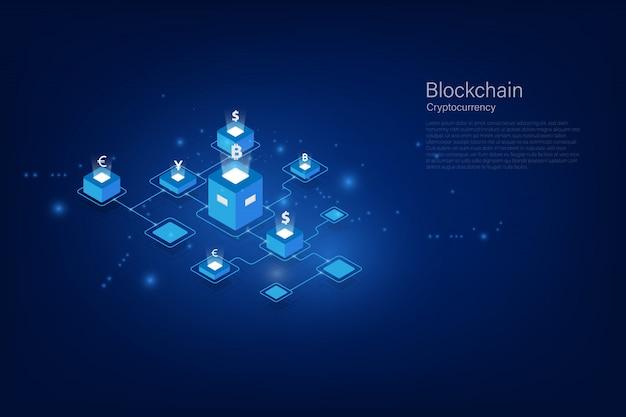 Cryptocurrency en blockchain isometrische geldoverdracht. wereldwijde valuta. beurs. voorraad vectorillustratie. Premium Vector