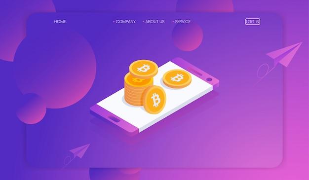 Cryptocurrency en blockchain op smartphoneconcept Premium Vector