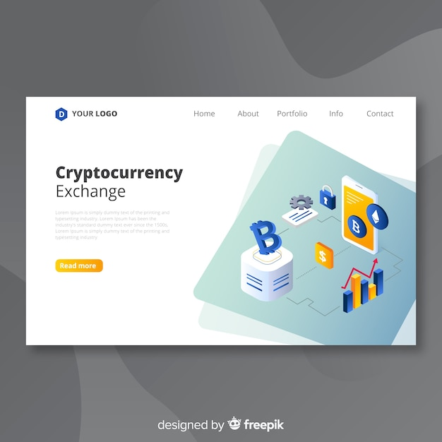 Cryptocurrency exchange bestemmingspagina sjabloon Gratis Vector