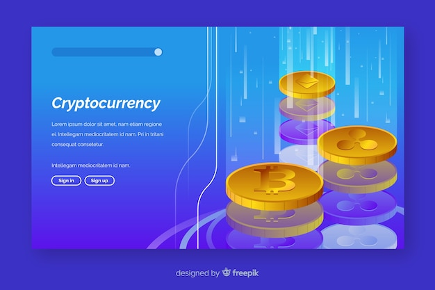 Cryptocurrency exchange bestemmingspagina sjabloon Gratis Vector
