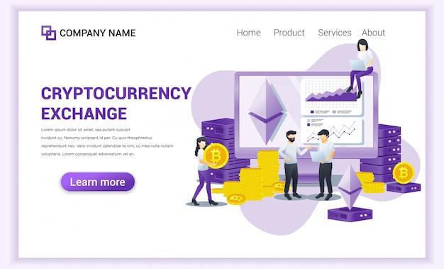 Cryptocurrency exchange-concept met mensen die op een computerscherm werken voor het uitwisselen van bitcoin en digitale valuta's Premium Vector