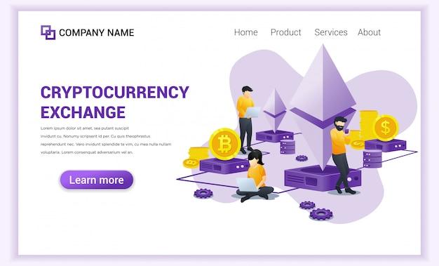 Cryptocurrency exchange-concept met mensen die op laptop werken voor het uitwisselen van bitcoin en digitale valuta Premium Vector