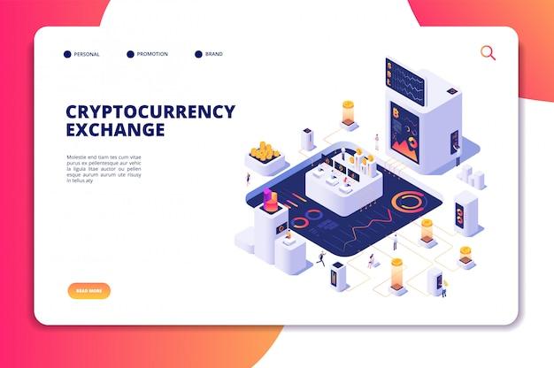 Cryptocurrency exchange isometrisch concept. blockchain-uitwisseling, crypto-handelstransacties. landingspagina digitale economie Premium Vector