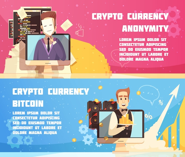 Cryptocurrency horizontale banners Gratis Vector