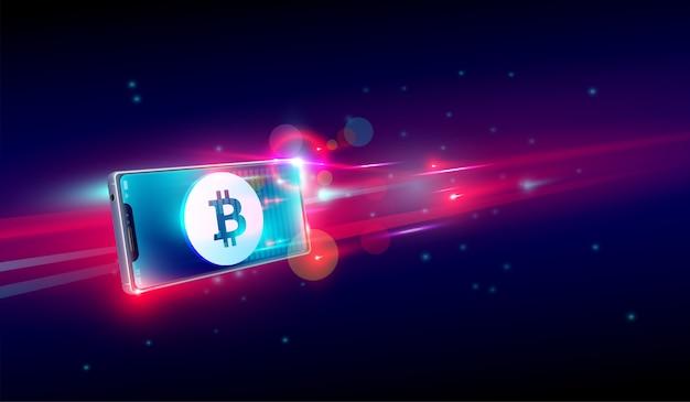 Cryptocurrency kopen of handelen op vliegende smartphone Premium Vector