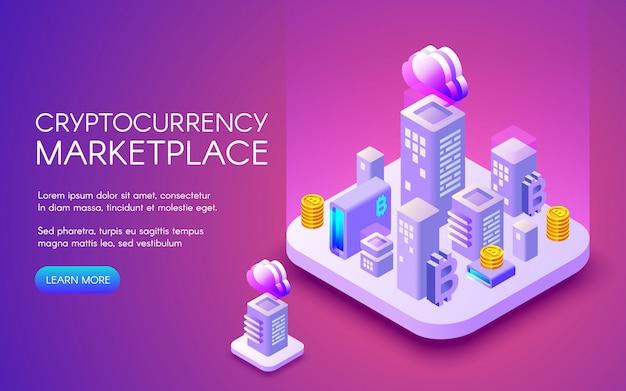 Cryptocurrency marktplaatsillustratie van bitcoin mijnbouwlandbouwbedrijf in slimme stad Gratis Vector
