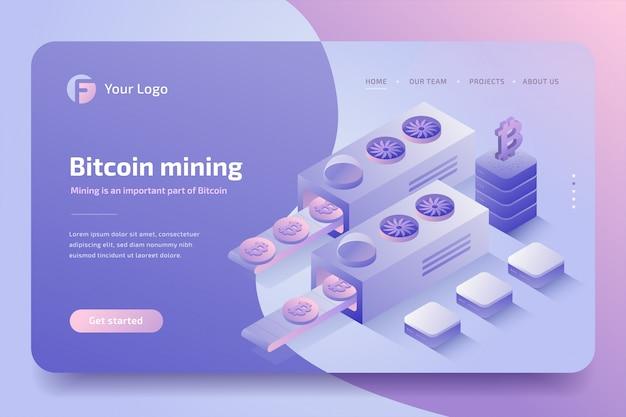 Cryptocurrency mining farm, blockchain-technologie. isometrisch Premium Vector