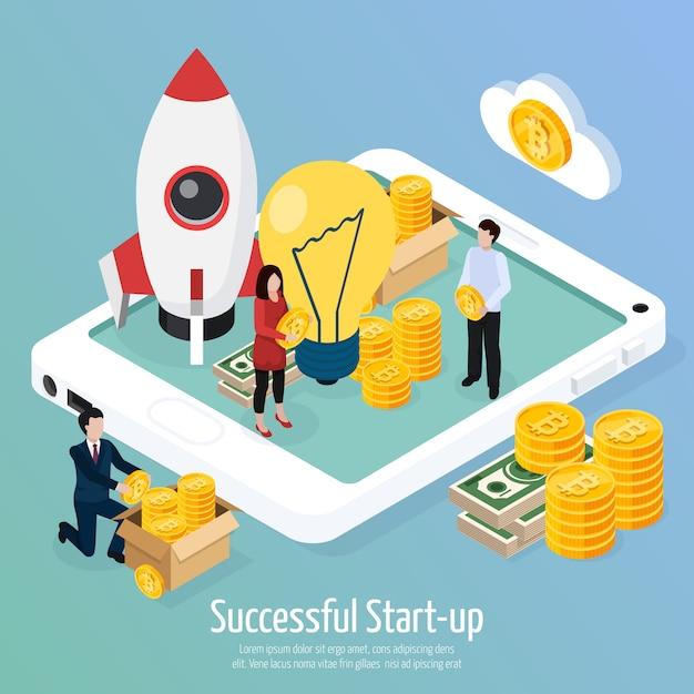Cryptocurrency succesvolle startup isometrische samenstelling Gratis Vector