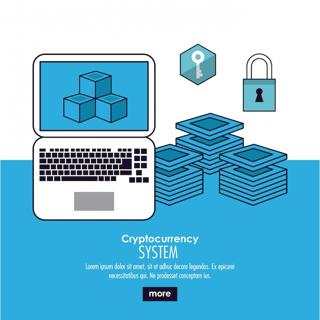 Cryptocurrency-systeembanner Premium Vector