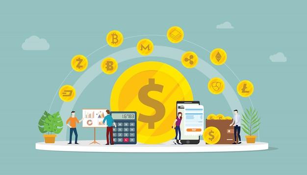 Cryptocurrency zakelijke geldoptie Premium Vector