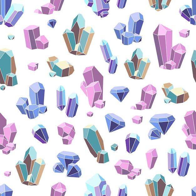 Crystal minerals naadloze patroon Gratis Vector