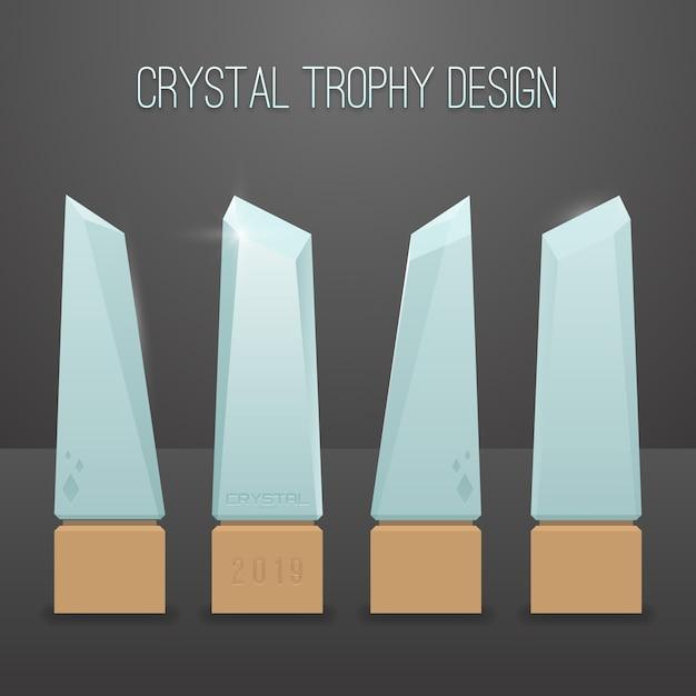 Crystal trophy design Premium Vector